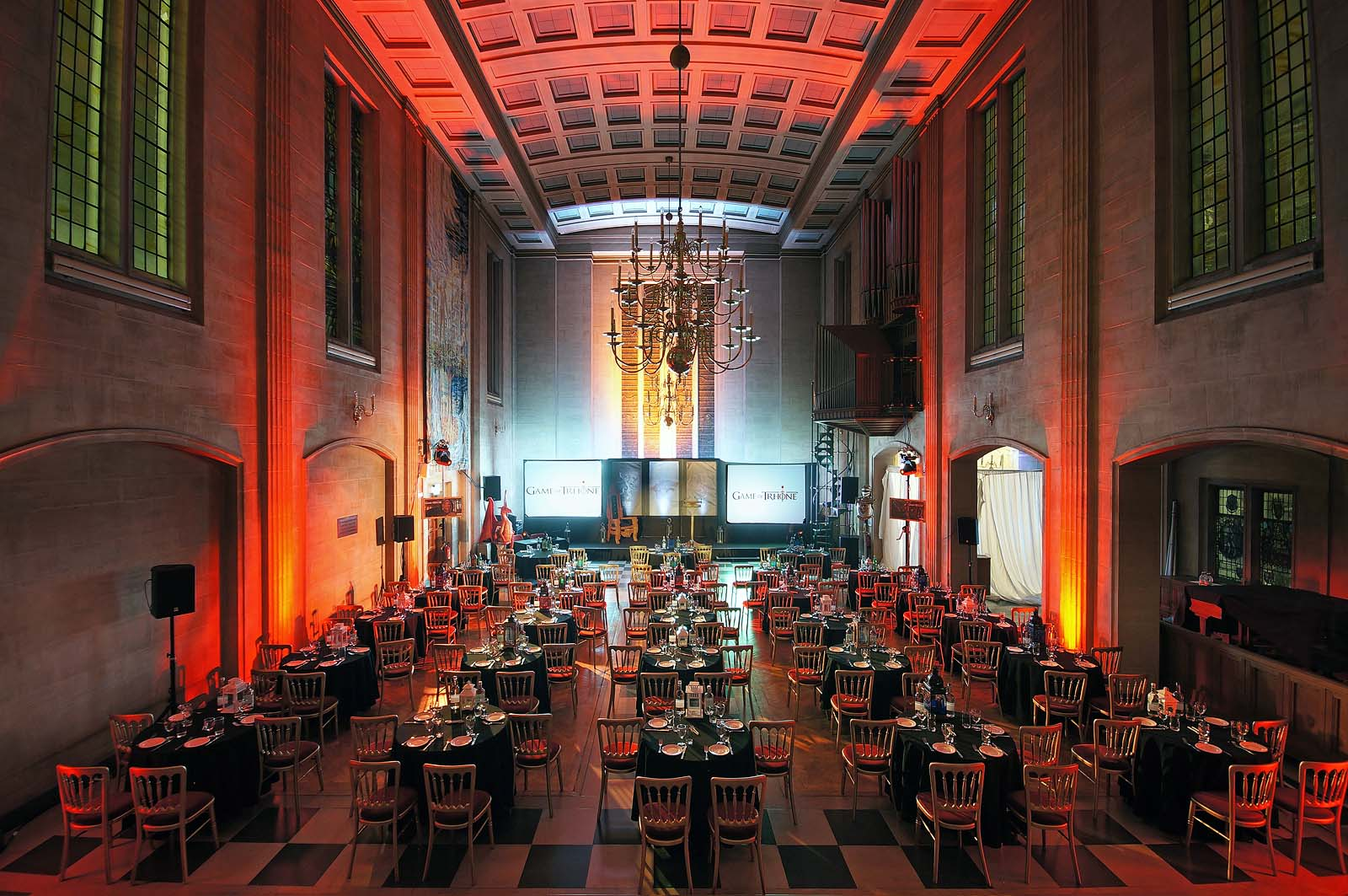 Seating for 200 guests in City of London event venue The Dutch Hall