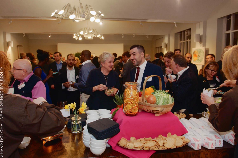 Guests enjoying refreshments at London EC2 conference venue The Van Gogh Reception Room
