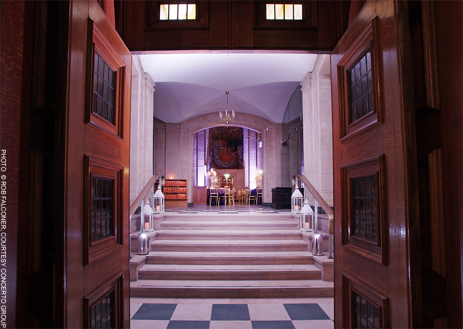 Grand entrance at City of London event venue The Dutch Hall