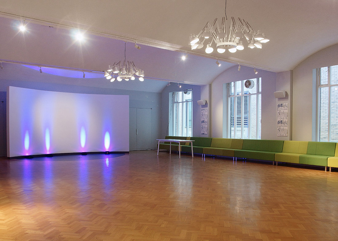 Projection screen in City of London conference venue The Van Gogh Reception Room