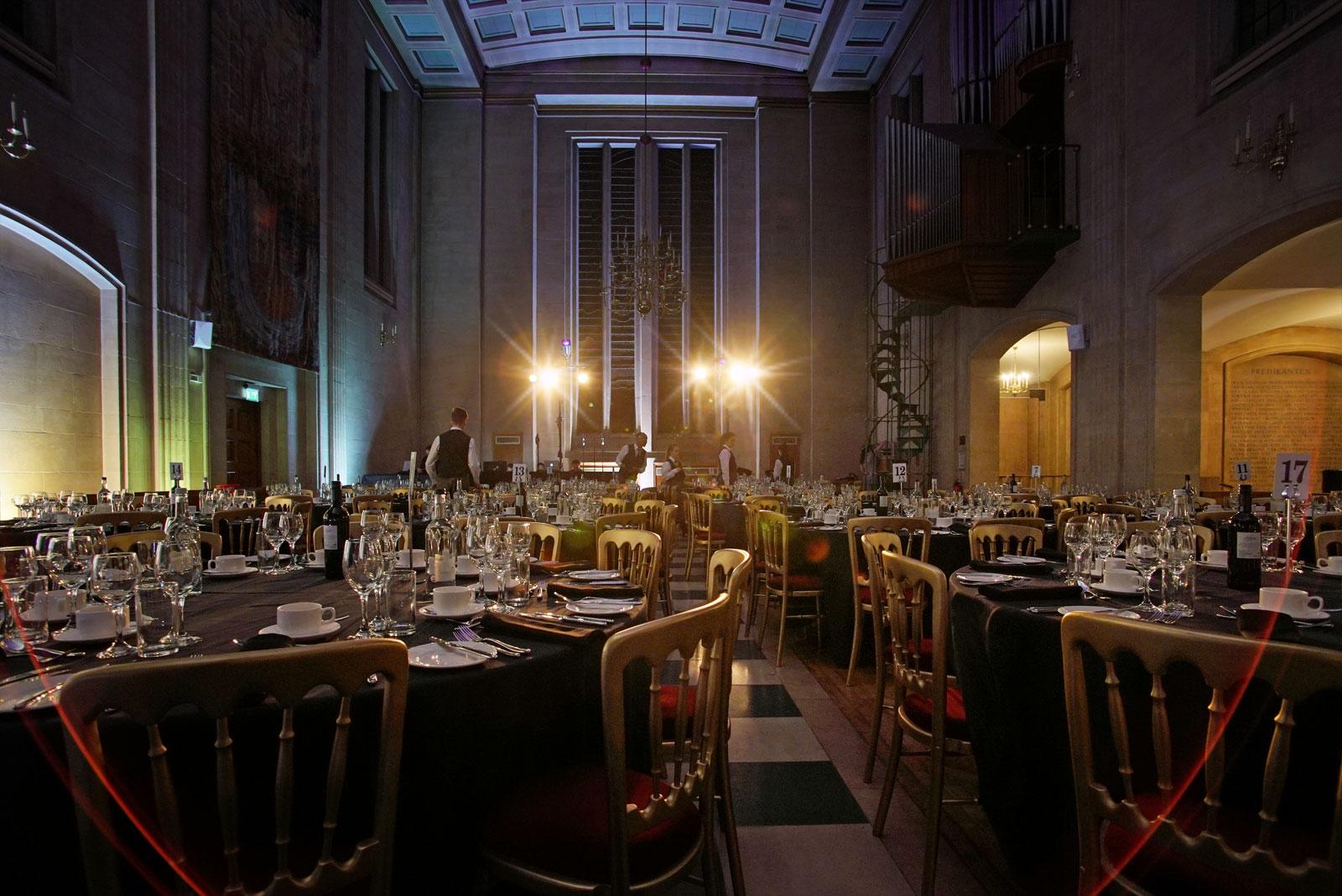 City of London event venue The Dutch Hall preparing a silver service dinner event