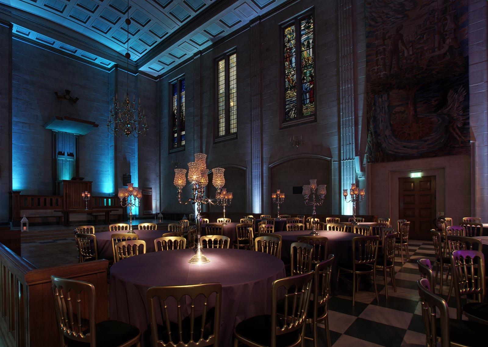 London EC2 event venue The Dutch Hall set for dinner event
