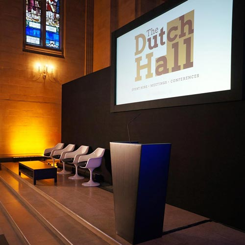 conference stage at City of London conference Venue The Dutch Hall