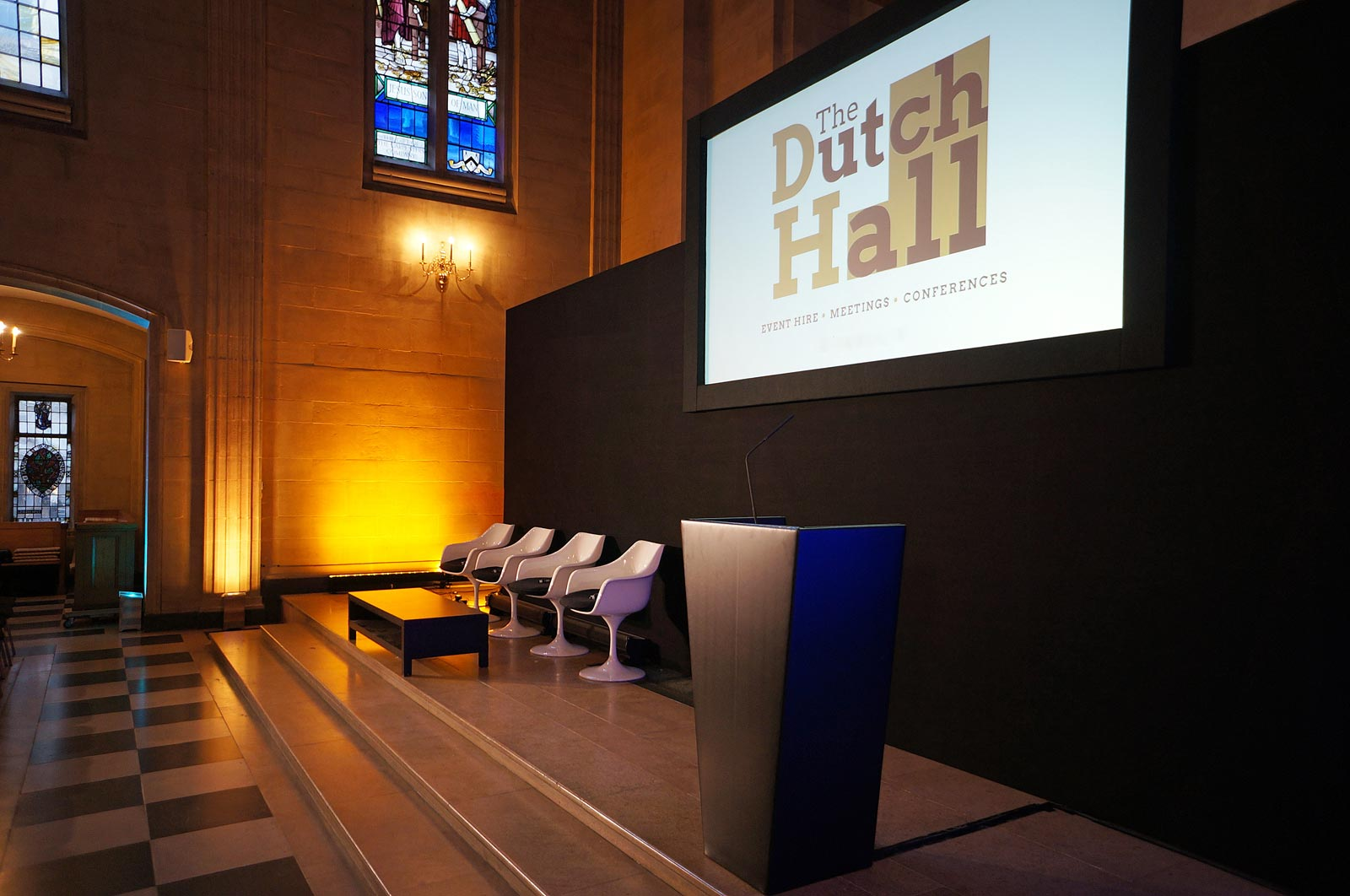 Spacious conference stage at London EC2 conference Venue The Dutch Hall