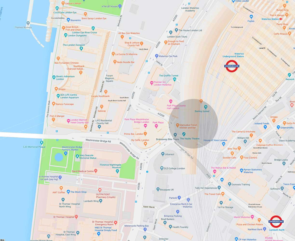 Location map of London South Bank Event Venue managed by Venues LDN